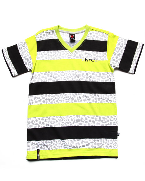 Enyce Boys Lime Green Leopard Stripe V-Neck Tee (8-20)