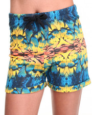 Women - Parrot Feather Mirror Print High Waisted Sweatshorts