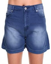Women - Denim Winged Leg Shorts