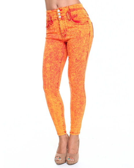 Basic Essentials - Women Orange,Red Acid Wash High-Waist Skinny Ankle Jean