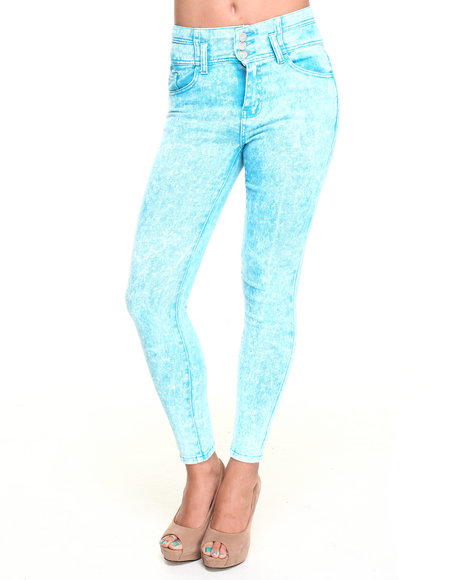 Basic Essentials - Acid Wash High-waist Skinny Ankle Jean