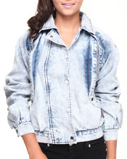 Women - Acid Wash Oversized Bomber Jacket