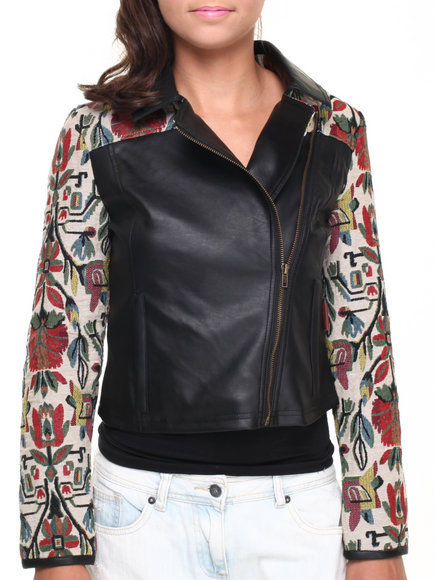 Bellfield - Vegan Leather Biker Jacket w/ Floral Print Sleeves