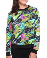 Sweaters - Jungle Geo Print Scoop Neck Sweater w/ Ribbed Bottom