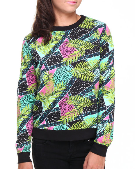 Bellfield - Women Multi Jungle Geo Print Scoop Neck Sweater W/ Ribbed Bottom