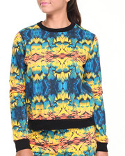 Women - Parrot Feather Mirror Print Sweatshirt w/ Ribbed Bottom