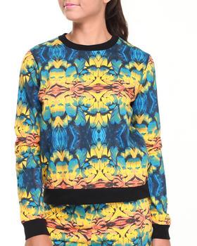 Bellfield - Parrot Feather Mirror Print Sweatshirt w/ Ribbed Bottom