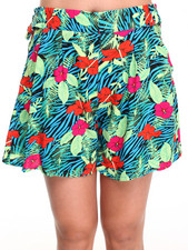 Women - Tropical Print Winged Leg Shorts