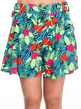 Bellfield - Tropical Print Winged Leg Shorts