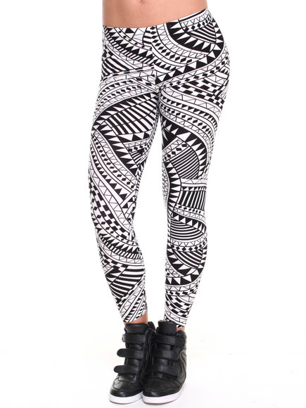 Leggsington - Women Off White Sammy Geometric Print Leggings