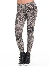 Leggings - Meryl Faux Navy Lace Print Leggings