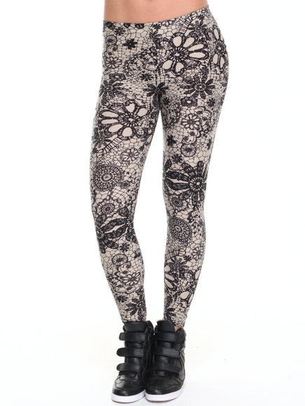 Leggsington - Women Neutral Meryl Faux Navy Lace Print Leggings