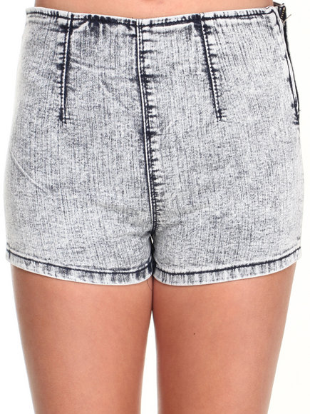 Almost Famous - Women Light Wash Acid Wash Side Zip Highrise Short - $7.99