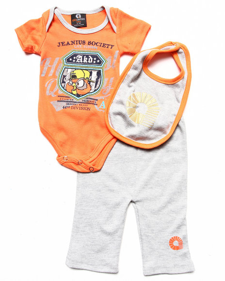 Akademiks - Boys Orange 3 Pc Set - Bodysuit, Pants, & Bib (Newborn)
