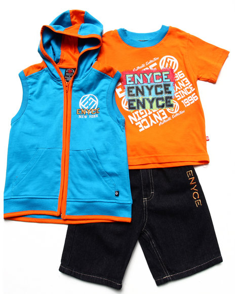 Enyce Boys Blue 3 Pc Set Hooded Vest, Tee, & Shorts (4-7)