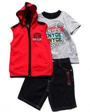 Sets - 3 PC SET - HOODED VEST, TEE, & SHORTS (4-7)