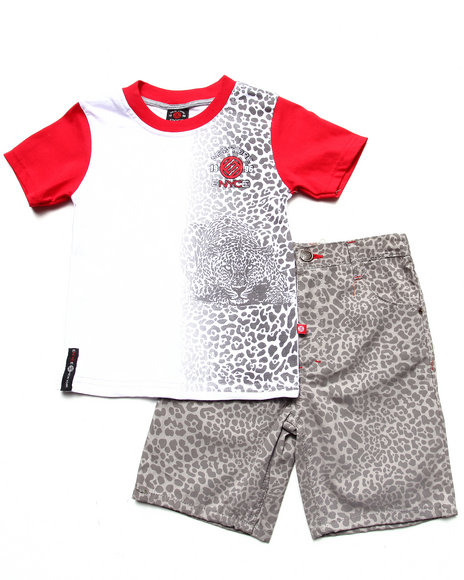 Enyce Boys Red 2 Pc Set Leopard Tee & Printed Shorts (4-7)