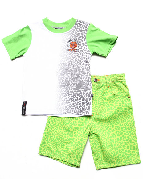 Enyce Boys Lime Green 2 Pc Set Leopard Tee & Printed Shorts (4-7)