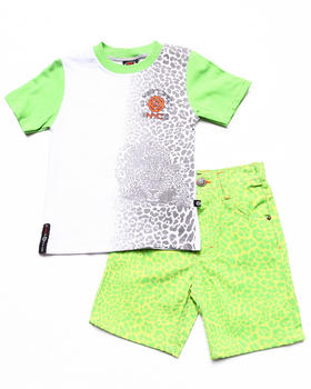 Enyce - 2 PC SET - LEOPARD TEE & PRINTED SHORTS (2T-4T)