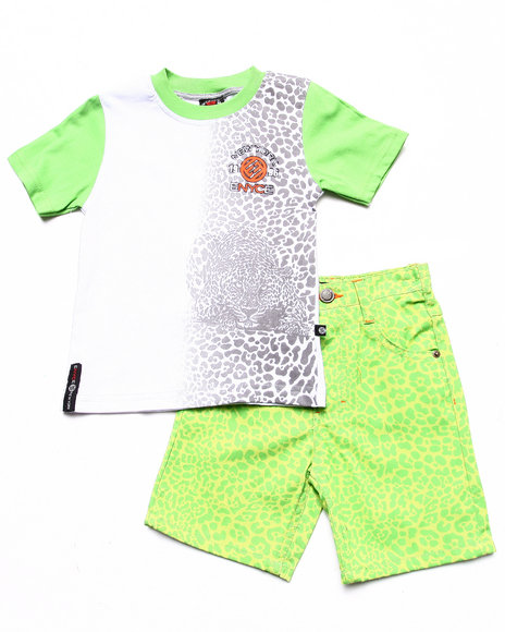 Enyce Boys Lime Green 2 Pc Set Leopard Tee & Printed Shorts (2T-4T)