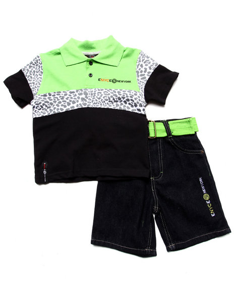 Enyce Boys Lime Green 2 Pc Set Leopard Polo & Belted Shorts (2T-4T)
