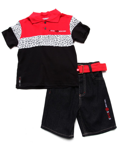 Enyce Boys Red 2 Pc Set Leopard Polo & Belted Shorts (2T-4T)