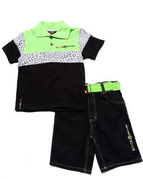 Enyce - 2 PC SET - LEOPARD POLO & BELTED SHORTS (4-7)