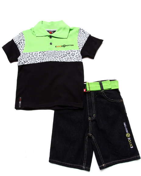 Enyce Boys Lime Green 2 Pc Set Leopard Polo & Belted Shorts (4-7)