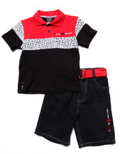 Sets - 2 PC SET - LEOPARD POLO & BELTED SHORTS (4-7)