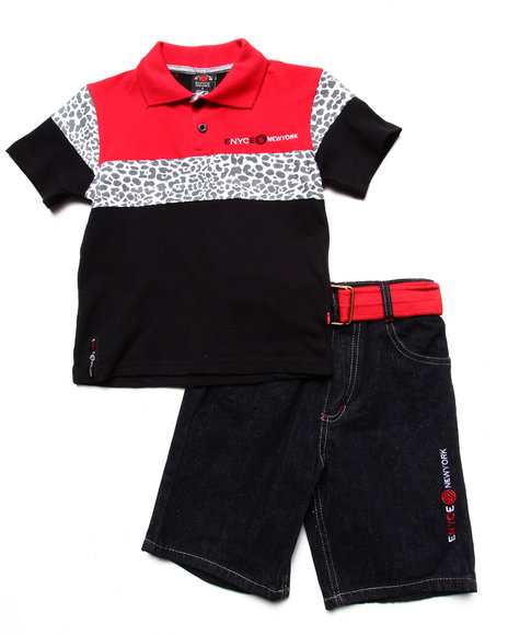 Enyce Boys Red 2 Pc Set Leopard Polo & Belted Shorts (4-7)
