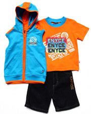 Sets - 3 PC SET - HOODED VEST, TEE, & SHORTS (2T-4T)