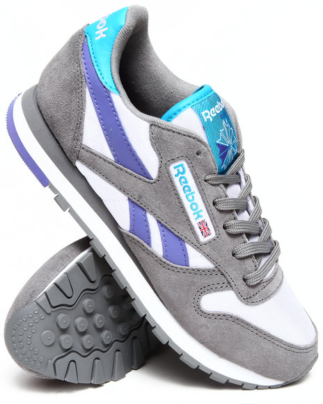 Reebok Grey,Purple Classic Leather Seasonal Sneakers