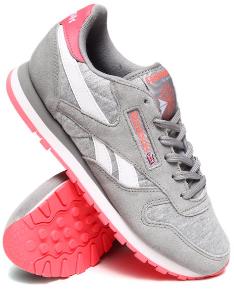 Reebok Grey,Pink Classic Leather Seasonal Sneakers