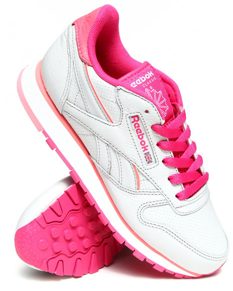 Reebok - Women Grey,Pink Classic Leather Perf Sneakers