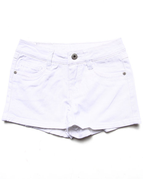 La Galleria Girls White Basic Twill Shorts (7-16)