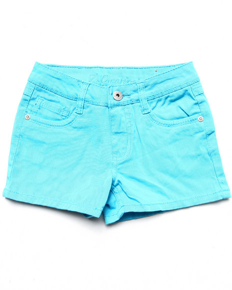 La Galleria Girls Teal Basic Twill Shorts (7-16)