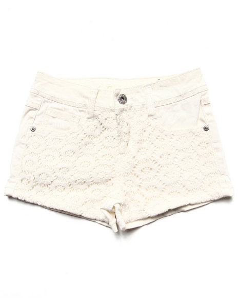 La Galleria Girls White Twill Shorts W/ Lace Overlay (7-16)