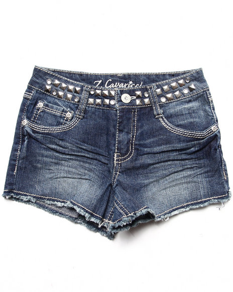 La Galleria Girls Dark Wash Studded Waist Fray Hem Short (7-16)