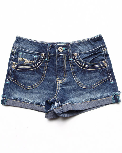 La Galleria Girls Medium Wash Patch Pocket Cuffed Shorts (7-16)