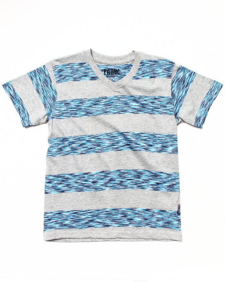 Arcade Styles - Boys Light Grey Space Dye Stripe V-Neck Tee (8-20)