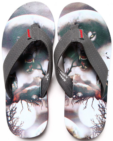 Akademiks Multi Moon Wolf Sublimation Flip-Flop