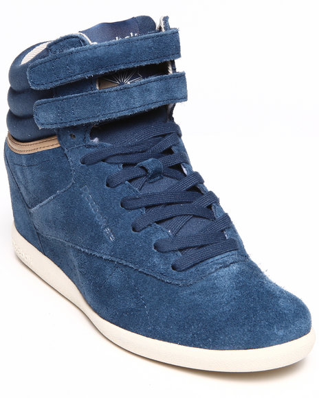 Reebok - Women Blue Freestyle Hi Int Wedge Sneakers