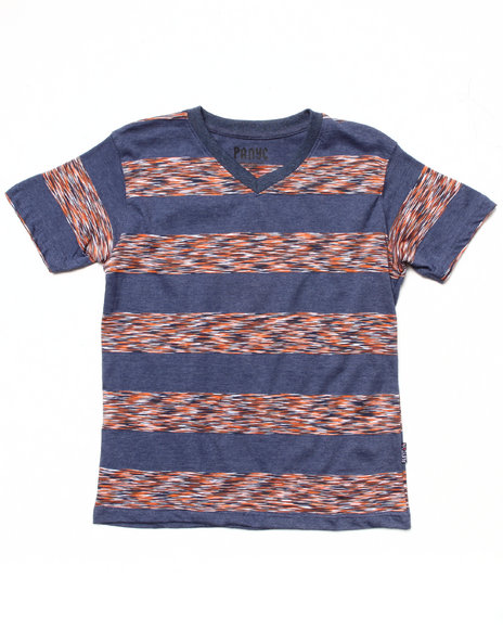Arcade Styles - SPACE DYE STRIPE V-NECK TEE (8-20)