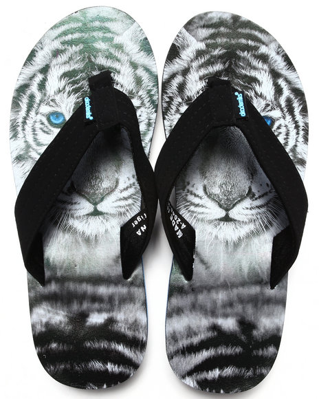 Akademiks Black,White White Tiger Sublimation Flip-Flop