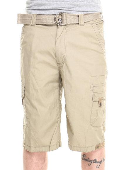 Basic Essentials - Men Khaki Multi Pocket Cargo Shorts With Belt - $18.99