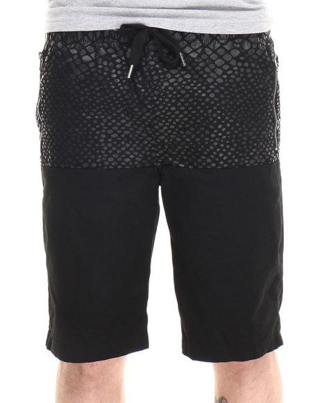 Buyers Picks - Men Black Director's Cut Faux Snake Print Drawstring Shorts - $17.99