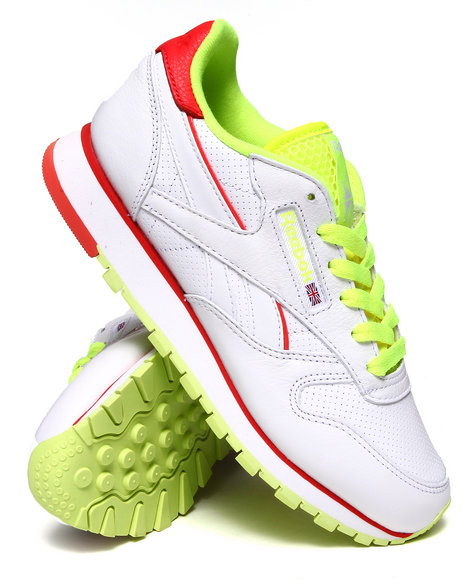 Reebok Neon Green,White Classic Leather Perf Sneakers