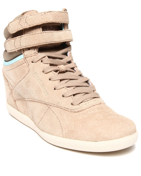 Reebok Tan Freestyle Hi Int Wedge Sneakers