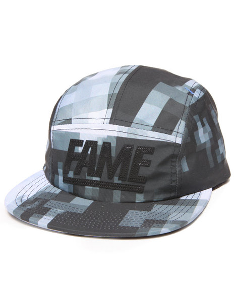 Hall Of Fame Men Leather Block 5-Panel Cap Black - $16.99