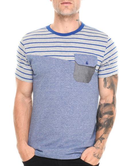 Buyers Picks - Men Blue Cut & Sew Multi Stripe Chambray Pocket Tee